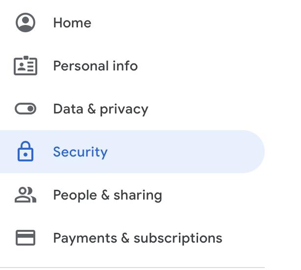 Google Security Setting Menu